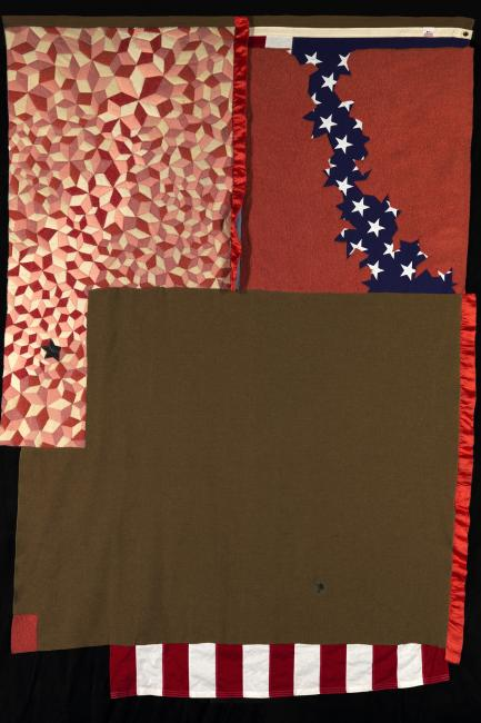 A quilt make of multiple materials.