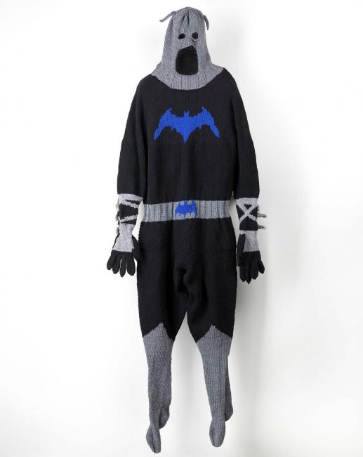 A costume of batman that's made of thread.