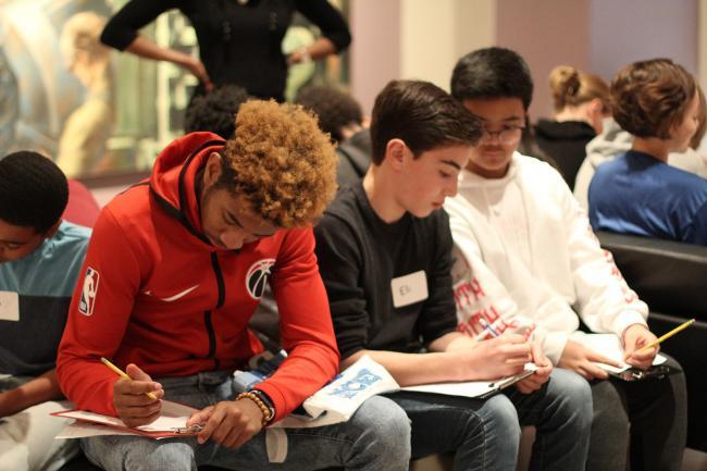 Three teens talking