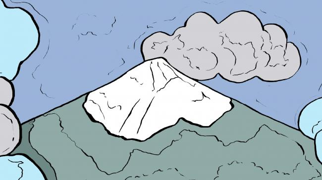 A coloring page of a mountain peak.