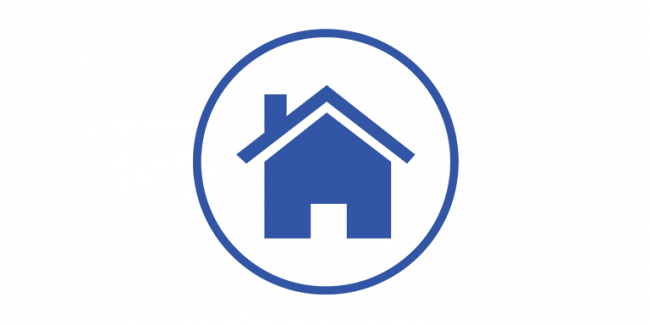 A graphic of a blue house