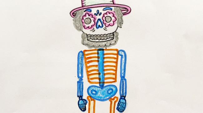A coloring sheet of a skeleton