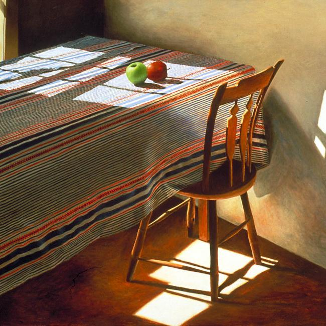 A painting of a chair at a table