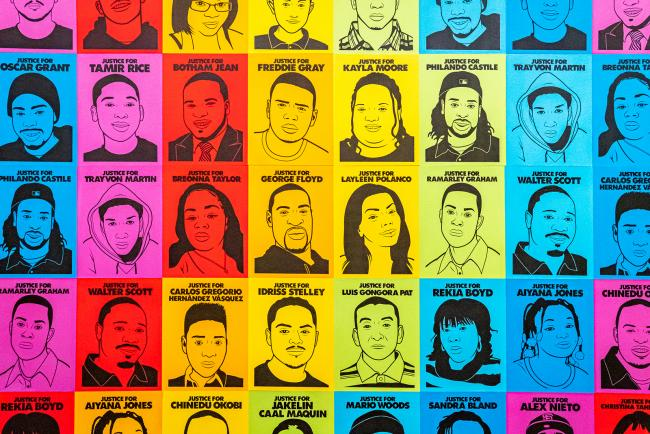 An artwork image of youth who have been killed from violence.