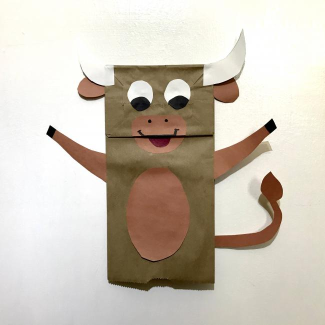 An ox made out of a paper bag