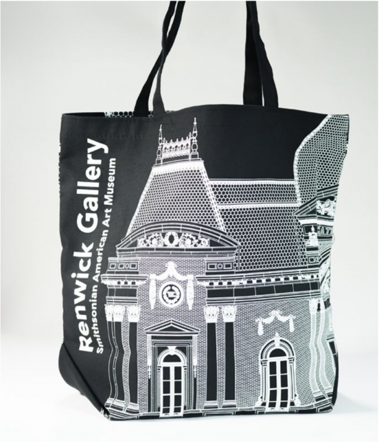 Image of a black tote bag with the words Renwick Gallery and Smithsonian American Art Museum in white letters