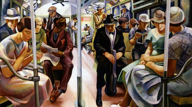 A painting of people on the subway