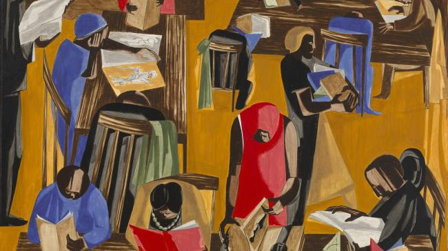 A painting of people in a library