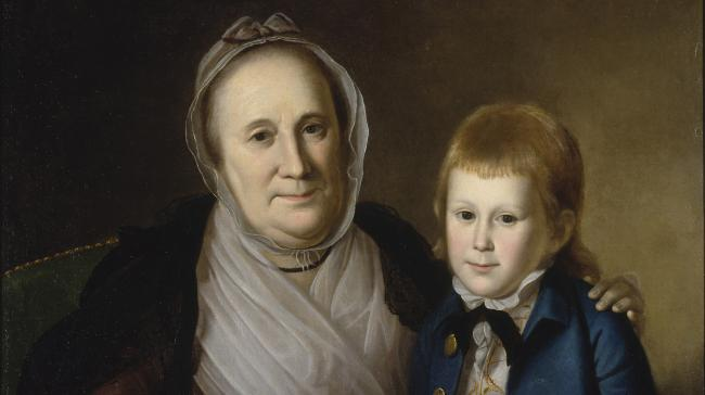 A painting of a woman and child