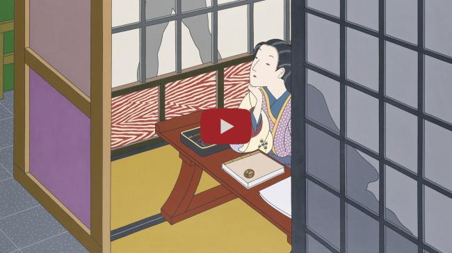 A painting of a figure sitting down with a shadow outsider her window