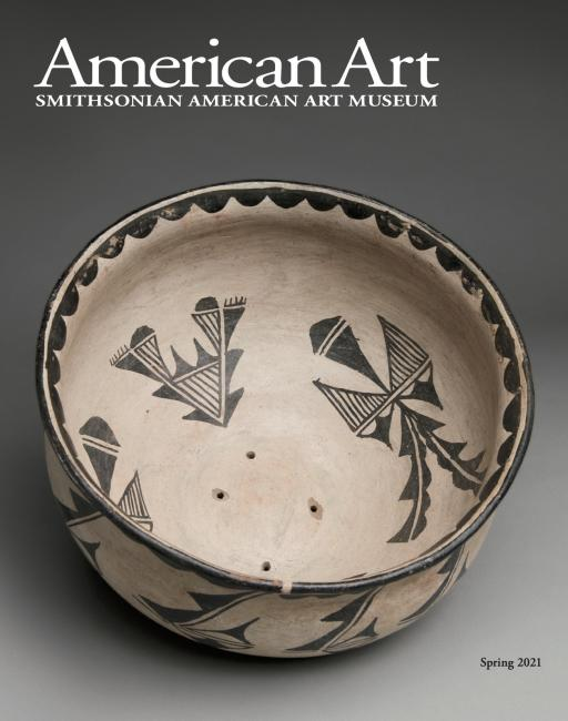 Cover of American Art Journal represents a Bowl created by artist Tonita Peña with black and white designs.