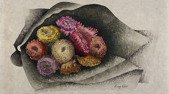 a print of flowers wrapped in paper