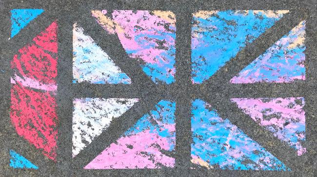 a chalk drawing on pavement