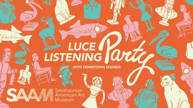 drawings of works of art wearing headphones