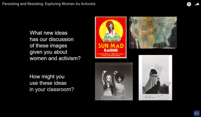 """A slide from a presentation in which four works of art are accompanied by the text """"How might you use these ideas in the classroom"""""""