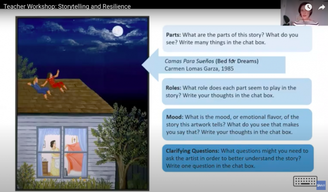 """a slide from a presentation with an artwork of people sitting on a house and text asking questions like """"What are the parts of this story?"""" and """"What do you see"""""""