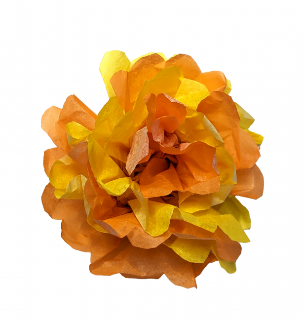 A marigold flower made out of tissue paper.