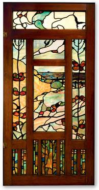 A stained glass entry hall panel