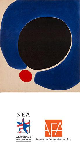 This is a painting of a large black circle and a smaller red circle surrounded by a blue mass.