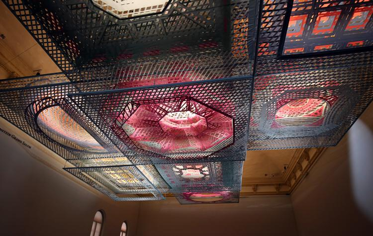This is an image of a ceiling suspended structure constructed from nine different American buildings.