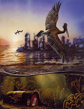 oil on wood of an ocean scene with a bird in the foreground and a decaying cityscape in the background.