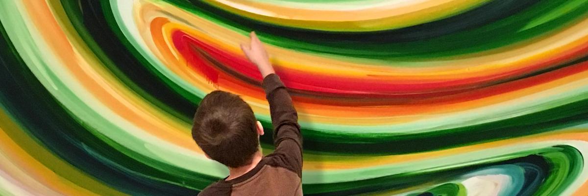Student discusses artwork in SAAM galleries