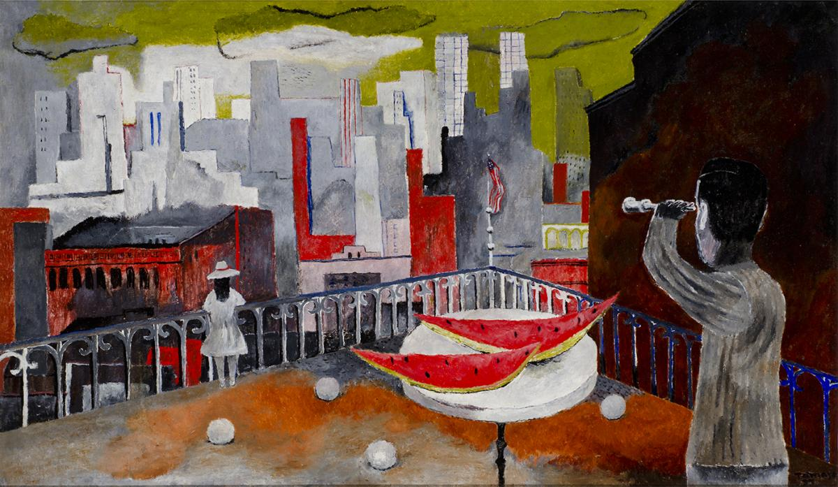 Oil on canvas of a New York skyline from a terrace.