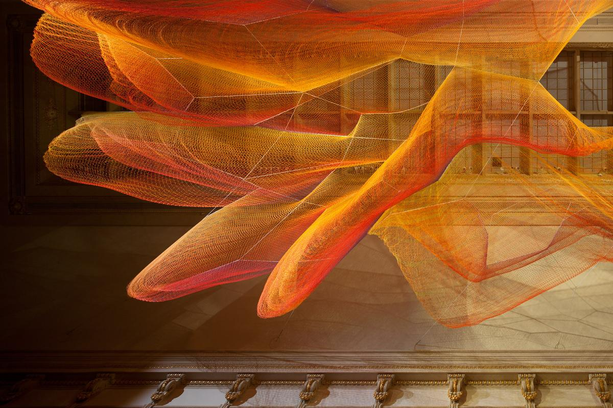 A close up of Echelman's installation for WONDER at the Renwick Gallery.