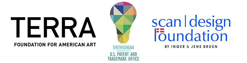 Three different logos: Terra Foundation, Patent Office, and scan/design Foundation