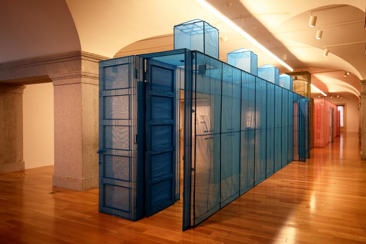This is a detail photograph of Do Ho Suh's blue hub.