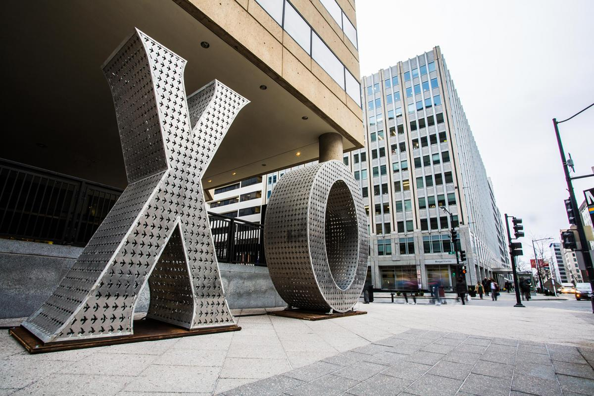 This is a picture of sculpture piece XO in the Golden Triangle district of D.C.