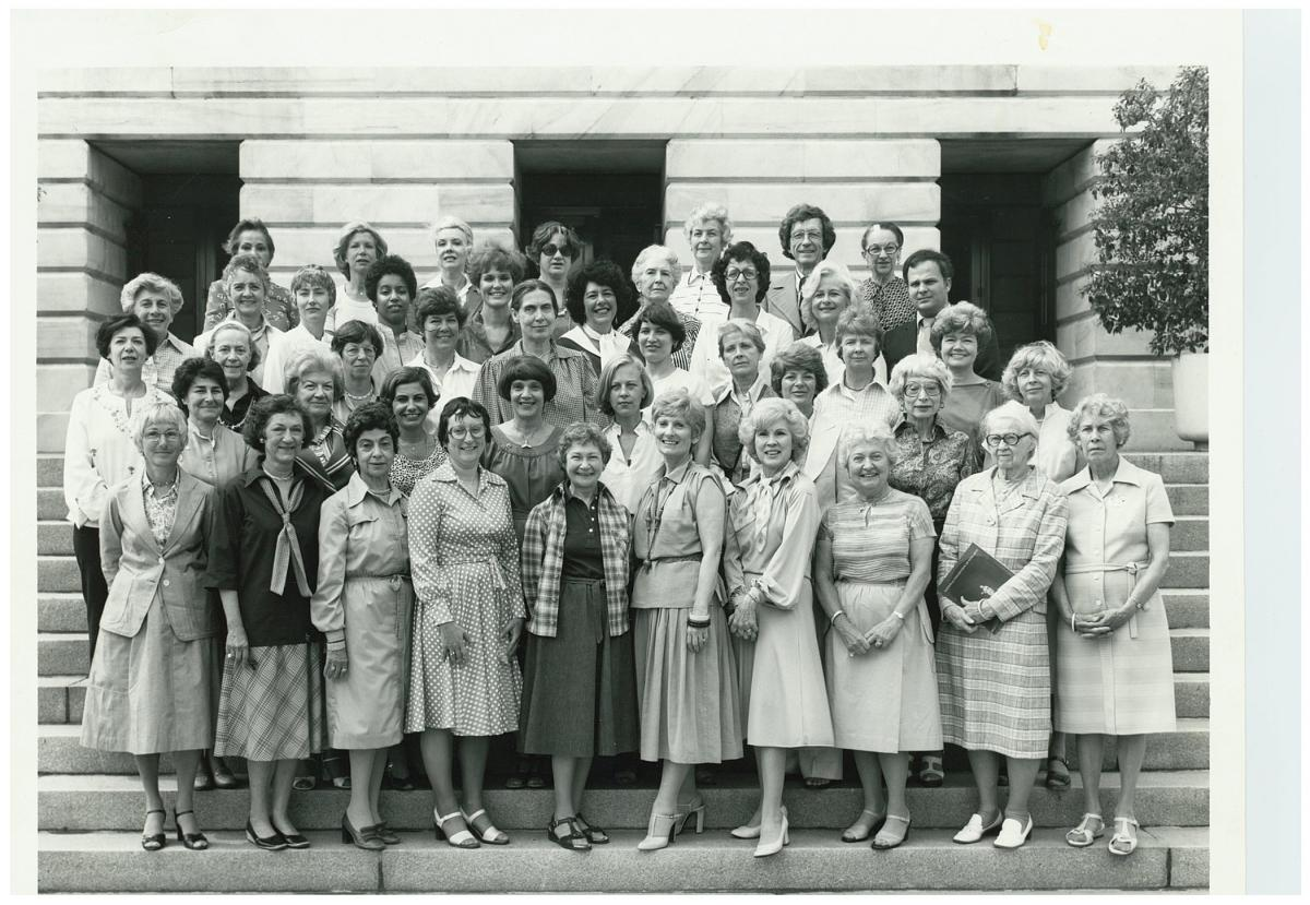 This is a black and white photo taken in 1978 of the docents at SAAM.