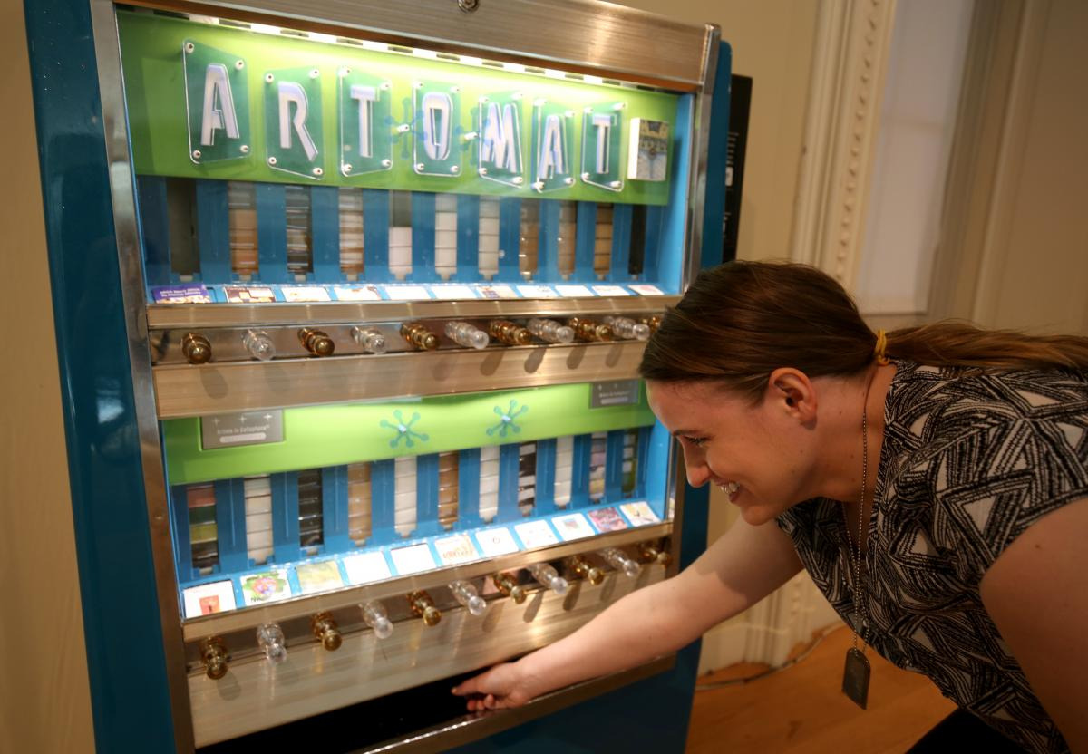 A picture of the Art-o-mat machine inside the Luce Foundation Center.
