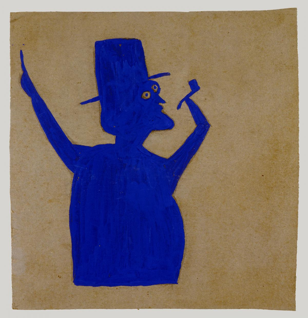 A silhouette of a man in blue with a pipe and hat.
