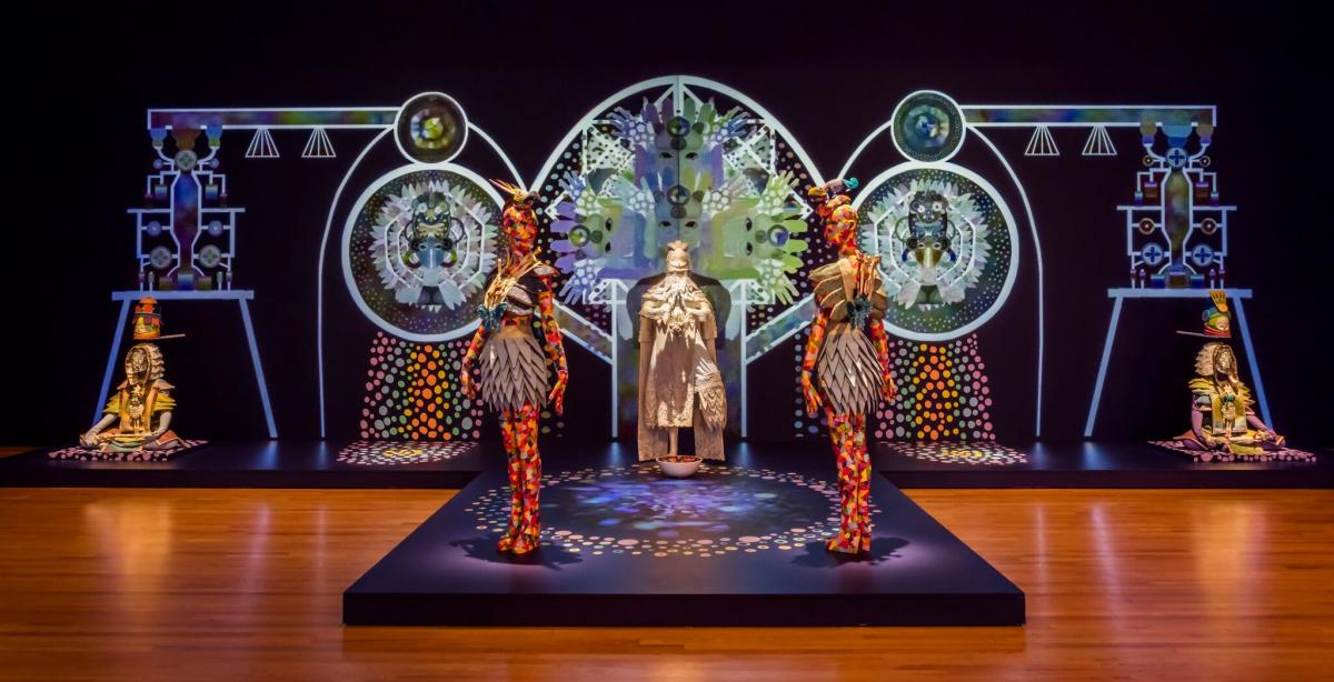 Image of Saya Woolfalk's 2015 installation at the Seattle Art Museum, ChimaTEK Life Products Virtual Chimeric Space
