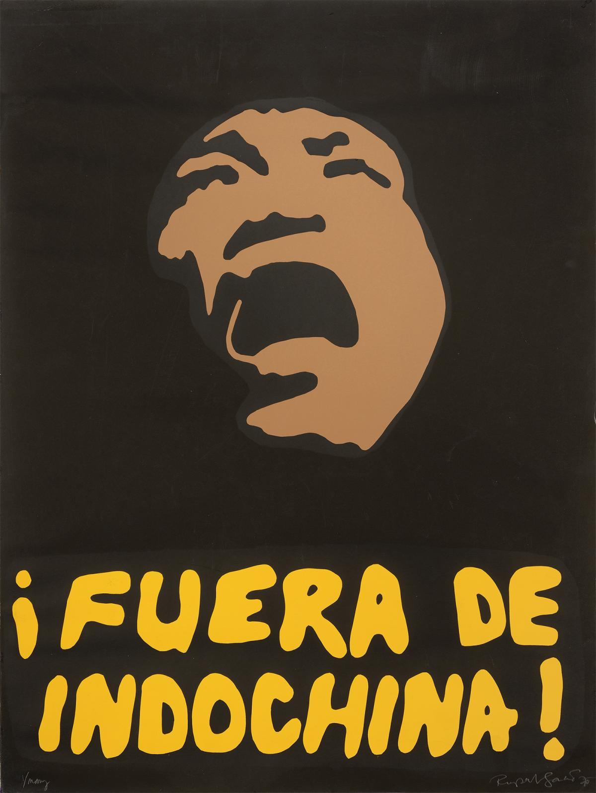A screenprint of a man yelling with ¡Fuera de Indochina! printed underneath.