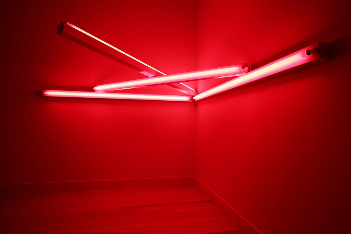 Flavin's LED lighting in red.