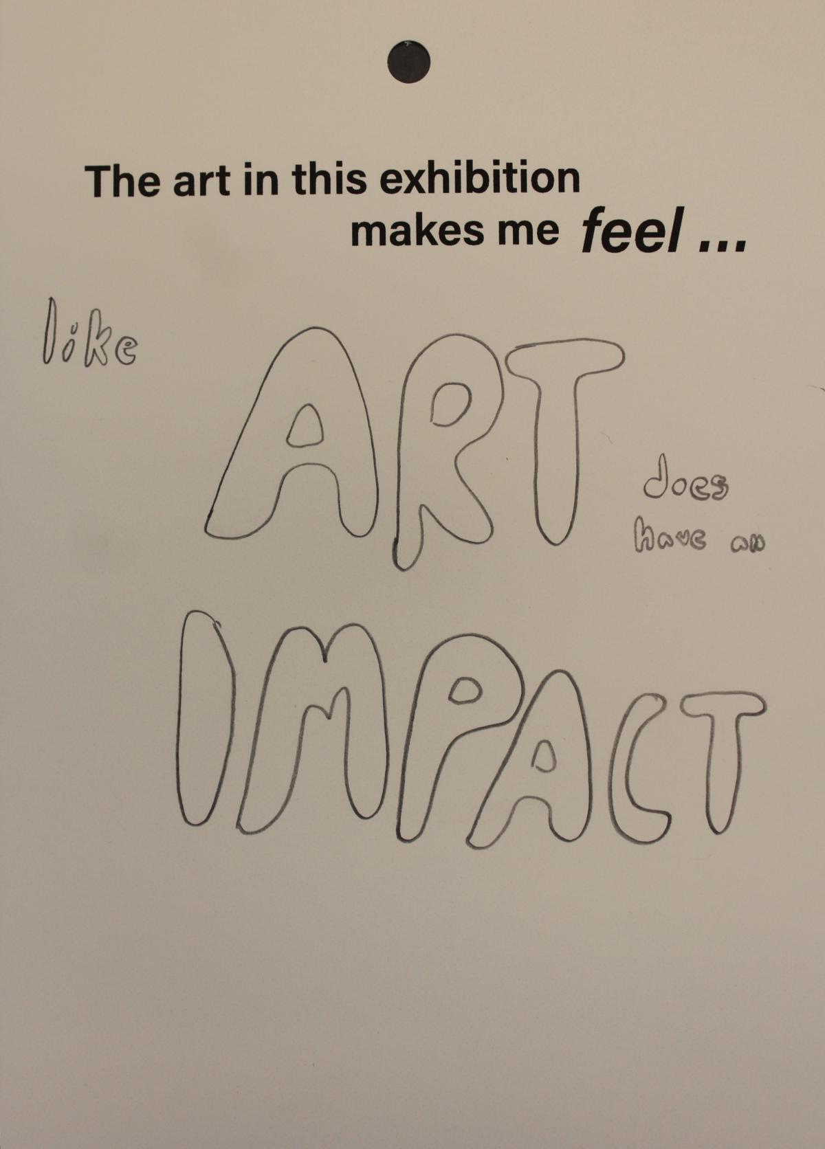 Feedback card from Artists Respond exhibition