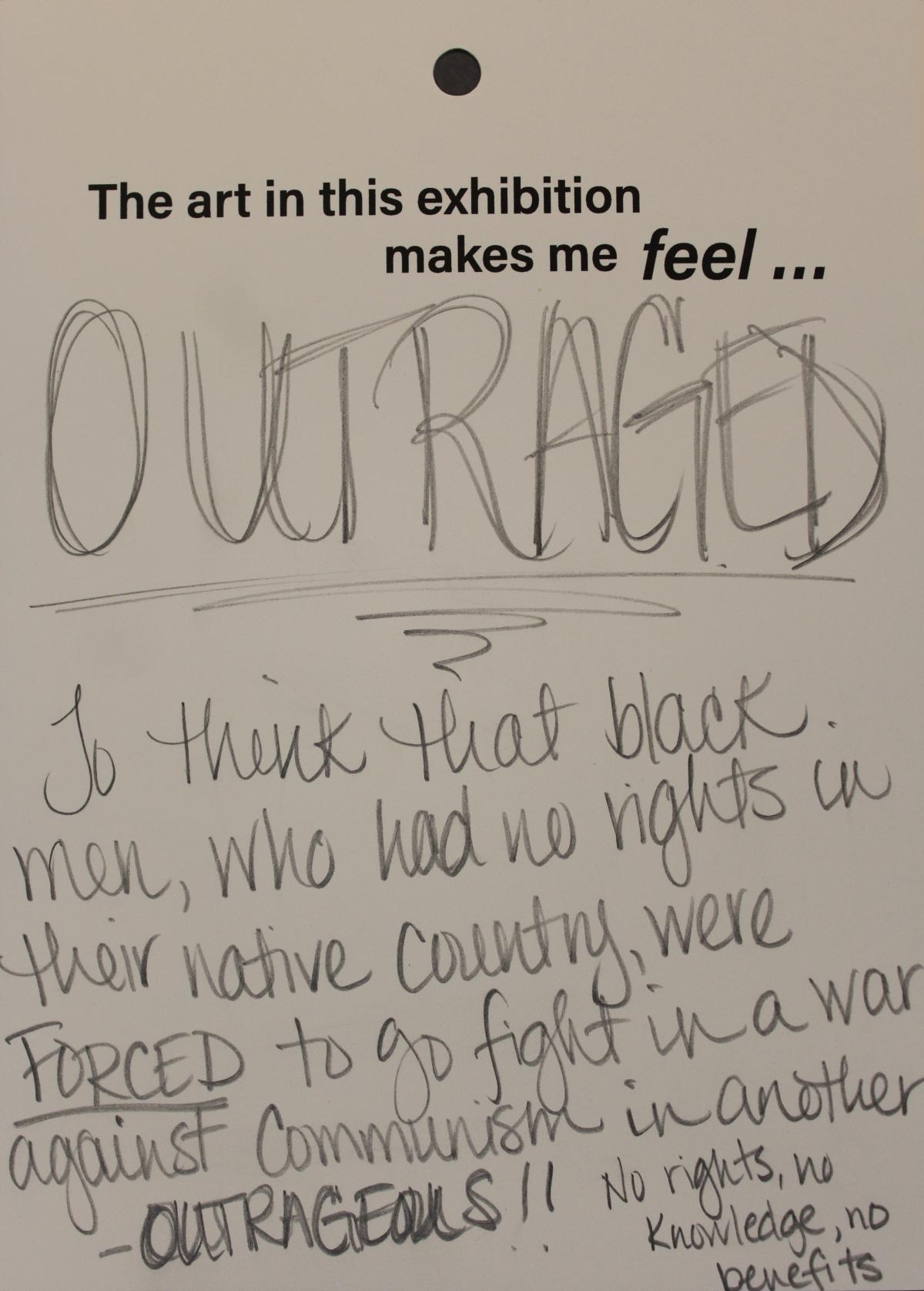 A visitor comment card describing outrage over the Vietnam War