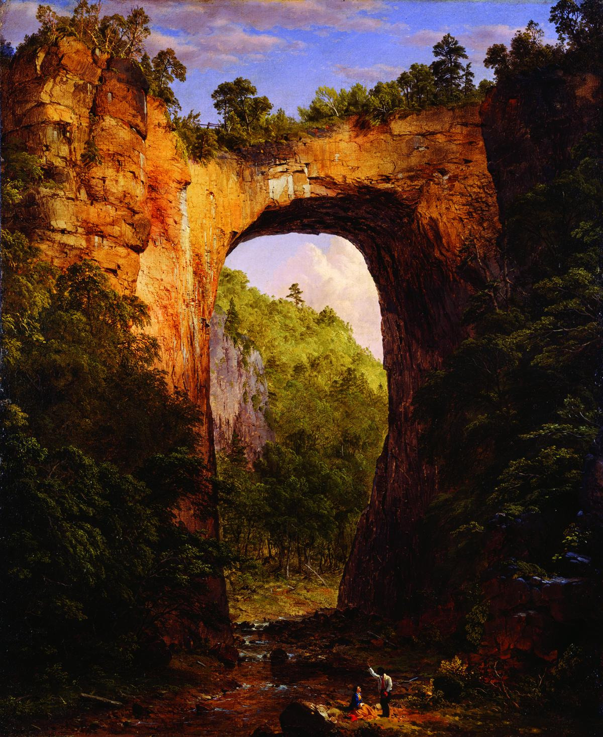 A painting of a bridge made from nature.