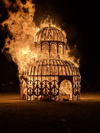 The ritual burn of the Chapel of the Chimes at Burning Man, September 1, 2019.