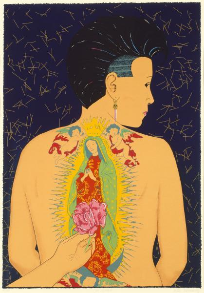 Colorful screenprint of a woman with religious tattoo on her back