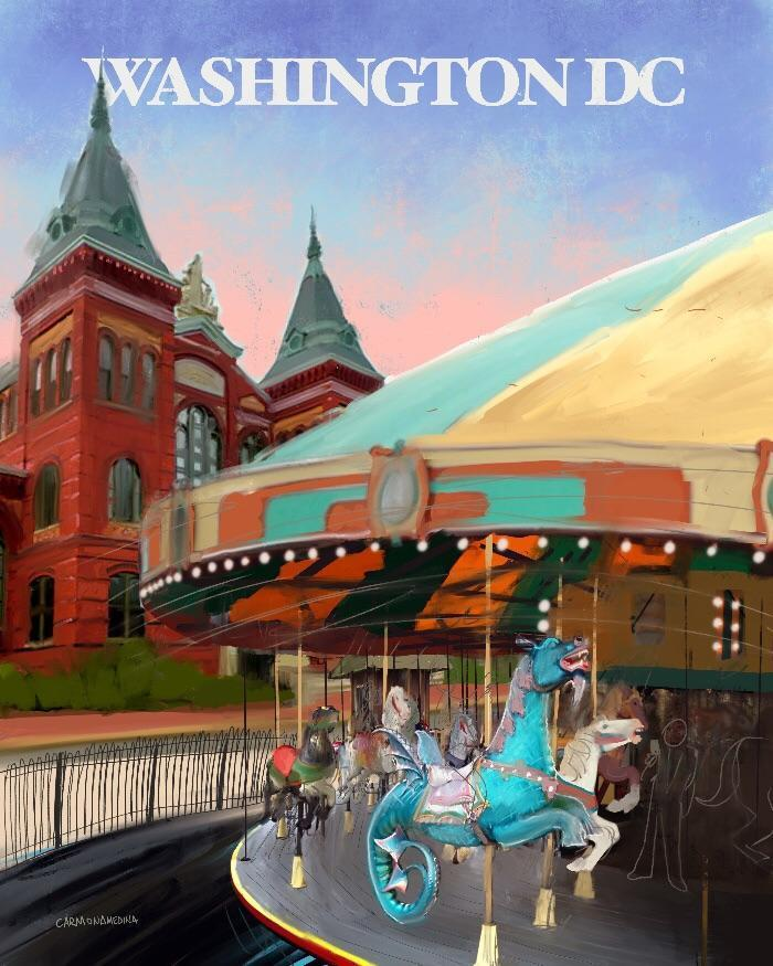 A drawing of a carousel with a building behind it.