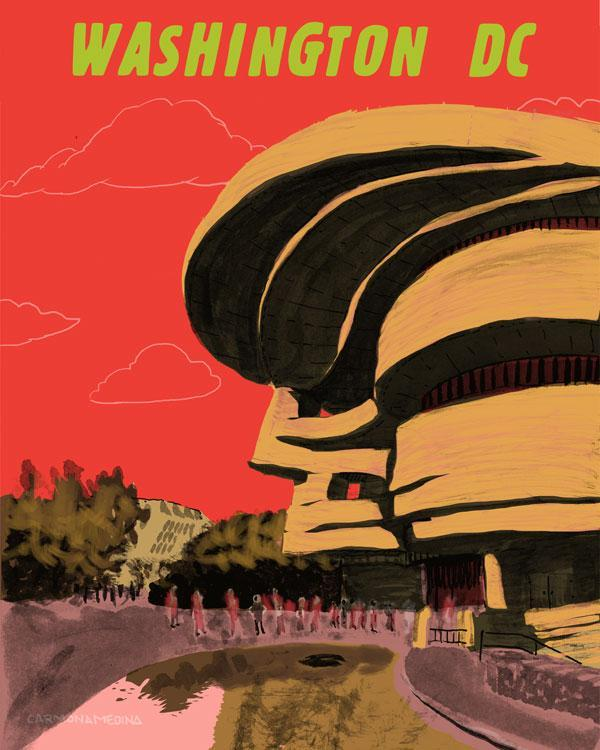 A drawing of the American Indian Museum with a curved building facade.