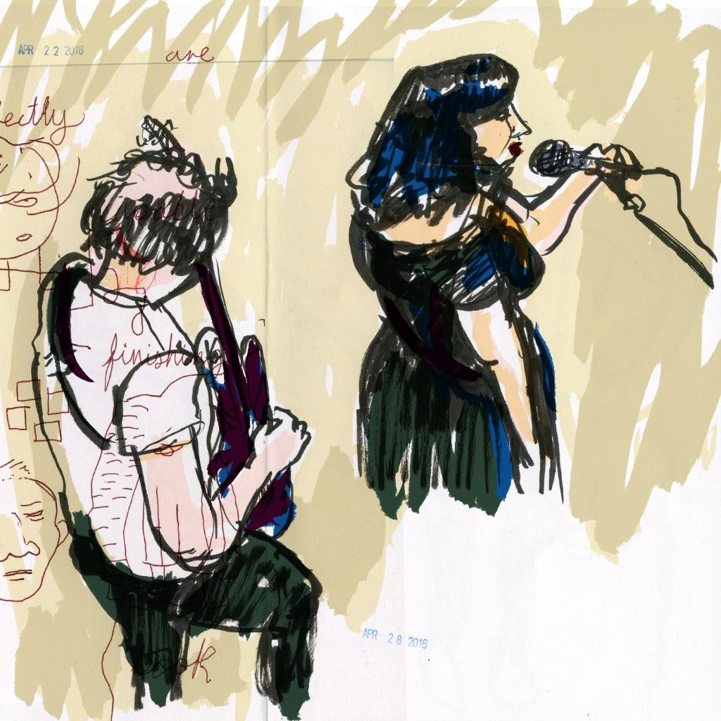 A drawing of two musicians from above.