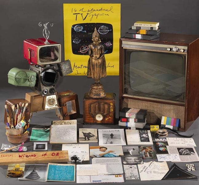 A selection of artifacts and ephemera from the Nam June Paik Archive