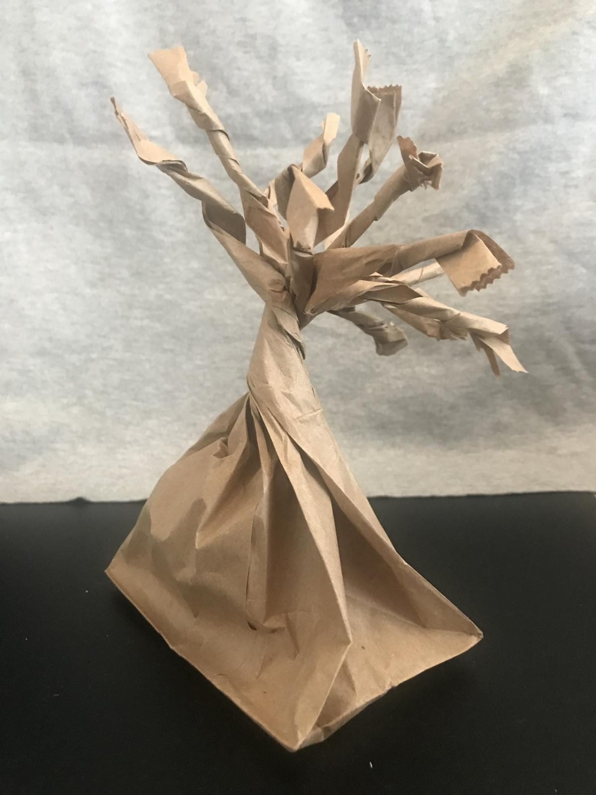 a tree made out of a paper bag