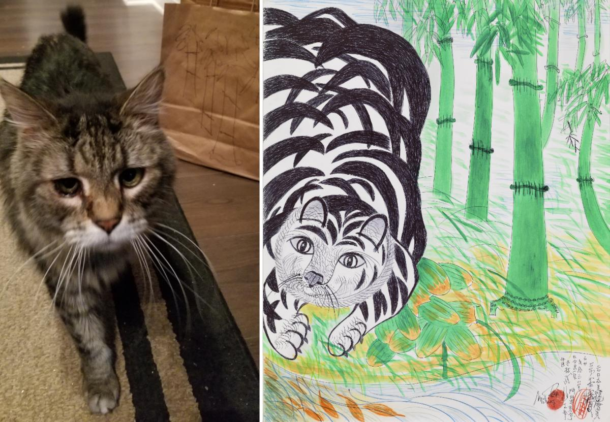 A recreation of an artwork by Jimmy Tsoutomu Mirikitani of a cat surrounded by bamboo.