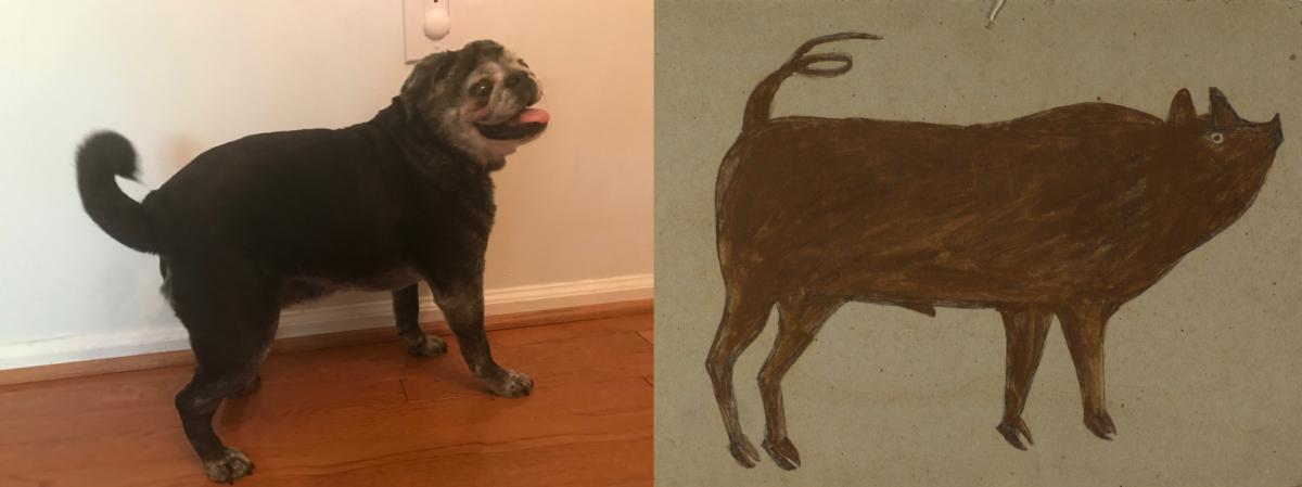 A recreation of a painting by Bill Traylor of a pig.