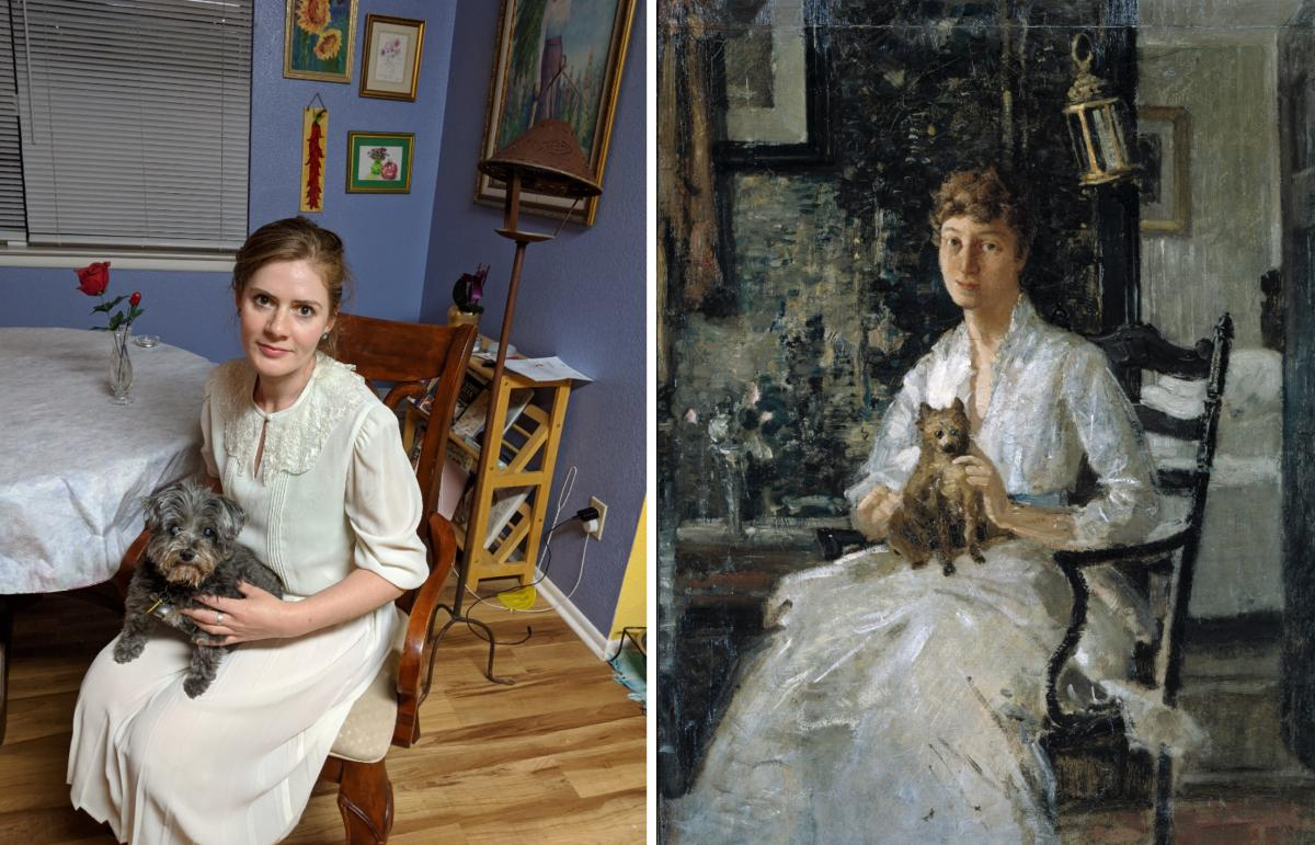 A recreation of a painting by J. Alden Weir of a woman seated with a dog in her lap.